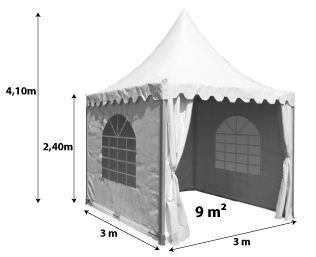 Tente pagode 3x3m_blanc