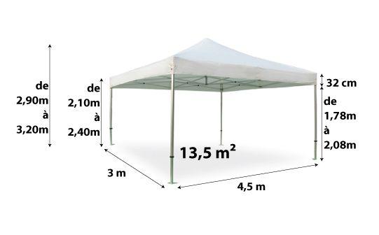 Tente pliante PRO 40MM 3x4,5_blanc