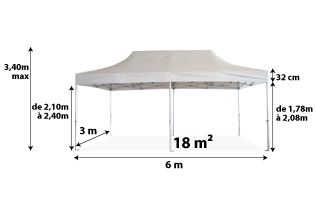 Tente pliante PRO 40MM 3x6_blanc