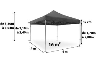Tente pliante PRO 40MM 4x4_anthracite
