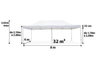 Tente pliante PRO 40MM 4x8_blanc