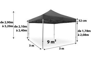 Tente pliante PRO+ 50MM 3x3_anthracite