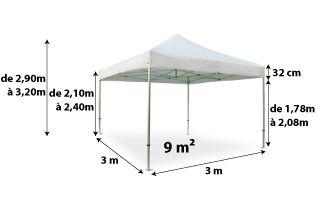 Tente pliante PRO+ 50MM 3x3_blanc