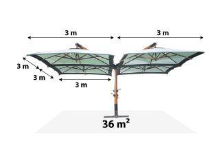 Quadruple parasol d port gris pro 4x3x3m mobeventpro - Parasol deporte orientable et inclinable ...